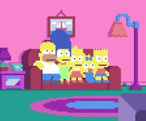 Художники пикселизировали заставку «Симпсонов»