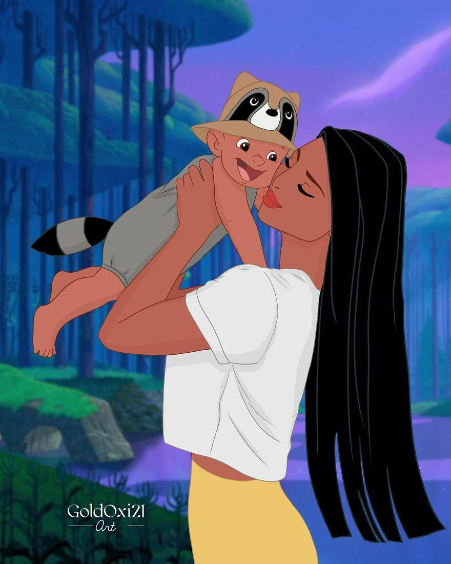 Российская художница изобразила принцесс Disney ввиде мам сдетьми | Канобу - Изображение 12078