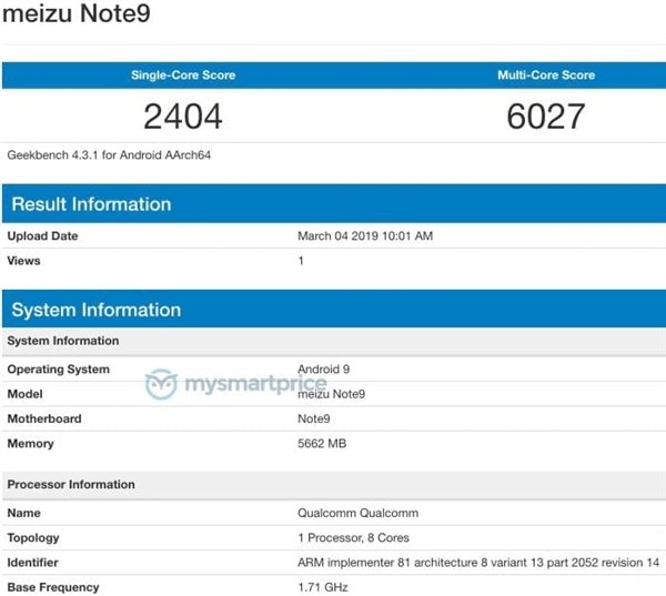 Meizu Note 9прошел тесты Geekbench | Канобу - Изображение 8972